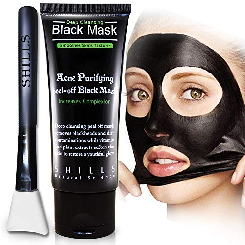SHILLS Charcoal Black Mask, Blackhead Remover Mask, Charcoal Mask, Blackhead Peel Off Mask, Acne Mask, and Brush Kit