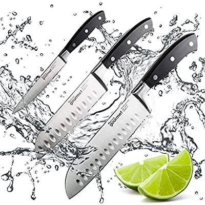 ProCook Gourmet X30 Santoku Knife - Small - 14cm / 5.5in - Sharp Professional Carbon Stainless Steel Japanese Kitchen Knife with Anti-Tarnish Blade