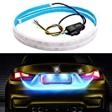 Car Led Strip Trunk Tail Brake Turn Signal Lights Flow Type Ice Blue Red Yellow White, Cool Car decoration Tailgate accessories (60 inch)