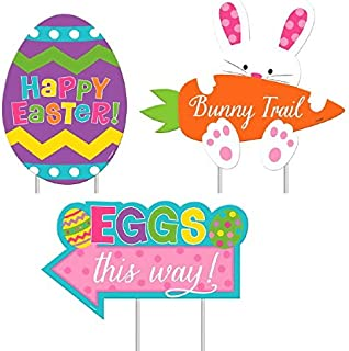 Amscan 199978 Easter Sidewalk Signs, Assorted Sizes, Multicolored