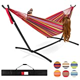 Best Choice Products 2-Person Brazilian-Style Cotton Double Hammock Bed w/Carrying Bag, Steel Stand, Rainbo