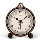Peakeep 4' Battery Operated Antique Retro Analog Alarm Clock,...