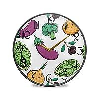 9.5インチの丸い壁時計非カチカチ音を立てないサイレントバッテリー式オフィスキッチン寝室家の装飾-カラフルな漫画の野菜