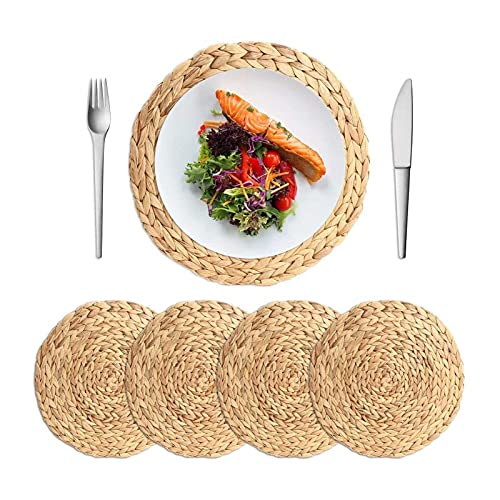 Oven Conjunto de Placas Trenzadas de ratán Redondo Conjunto de 4, placemands Resistentes al Calor Lavables Mesa Trenzada Hecha a Mano para mesas de Comedor, Boda, Fiestas (tamaño : 20cm)