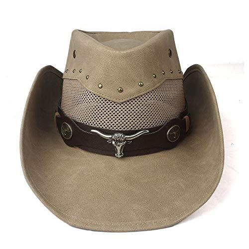 JIANGJINLAN 100% leer heren dames mesh western cowboy hoed brede rand outdoor zombrero hombre cowgirl hoed Bull Ribbon 58/59 cm kaki