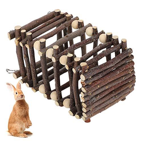 Alimentador de alimentos de hierba para mascotas Marco de alimentación de hierba de conejo de madera pequeño animal alimentador jaula accesorios para conejo, gato, cobayas