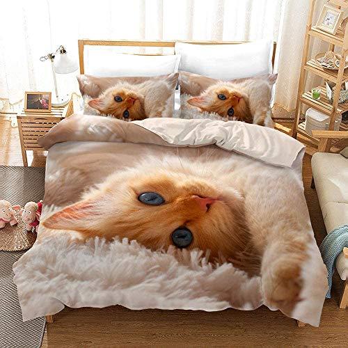 Ruiqieor Bettwäsche 135x200,Bettwäsche Set,Katze Bettbezüge,3D bettwäsche,Kissenbezug 80x80cm,Baumwolle-#05-135 x 200 cm