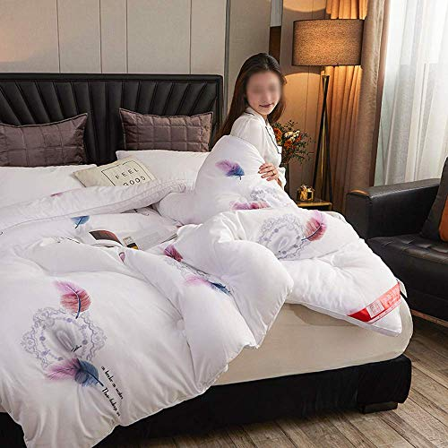 AMYZ Duvet,autumn and winter warm quilt,soy fiber three-dimensional winter quilt Elegant and simple printed winter comforter(C,150 * 200cm2kg)