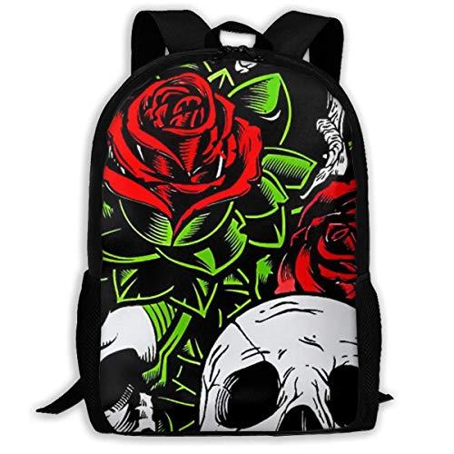Wobuzhidaoshamingzi schoolrugzak Halloween Magical Rose and Skull Bookbag Casual reistas voor jongeren meisjes