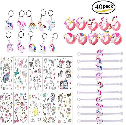 SouthStar Licorne Anniversaire, Licorne Porte-Clés ,Licorne Bracelets,Licorne Bagues et Tatouages Temporaires de Licornes pour Un Cadeau de l'anniversaire sur Le Thème Licornes(40Packs) (40 Pack)