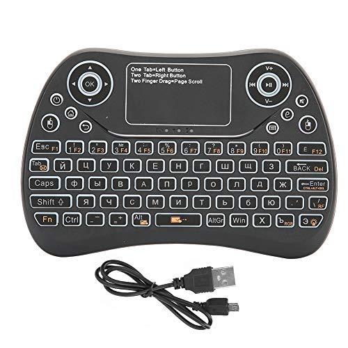 Oreilet Touchpad Handheld, 2.4G Teclado con retroiluminación confiable y Adecuado, para Smart TV Remote Control inalámbrico Backli de Siete Colores Mac, PC, Sega Game(Spanish)