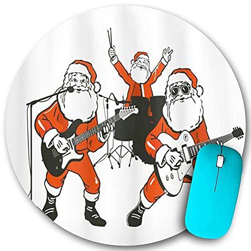 Rundes Mauspad rutschfester Gummi, lustige Weihnachtsmann-Rockband spielt Schlagzeug Gitarre Weihnachtsmannshow, wasserdichte, haltbare Mausmatte Büro-Desktops Persönlichkeit 7,9 'x 7,9'