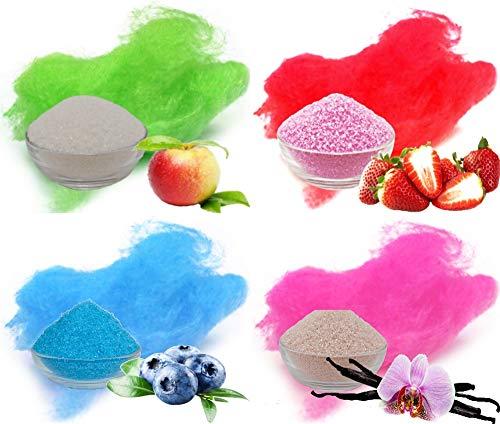 Profi Zucker mit Geschmack für bunte Zuckerwatte | 4x500g Apfel, Erdbeer, Heidelbeere, Vanille | 2kg Aromazucker gesamt | für alle Zuckerwattemaschinen geeignet
