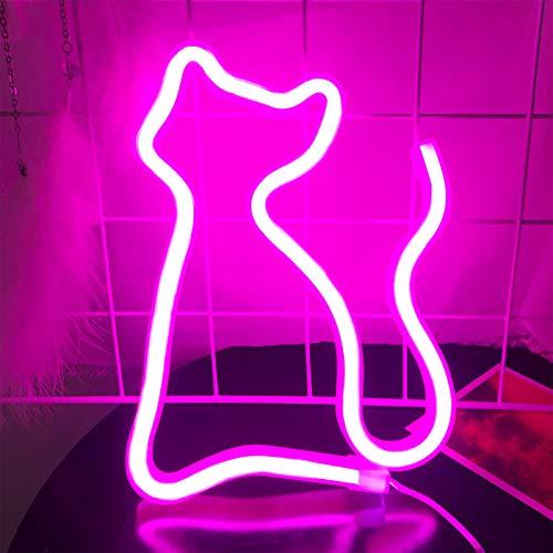Katze LED Neonlicht - Protecu USB batteriebetrieb Nachtlicht für Wanddekoration und Kunstdekoration, LED Deko Neon Lampe Dekoration für Schlafzimmer Weihnachten Partys Kinderzimmer (Katze, rosa)