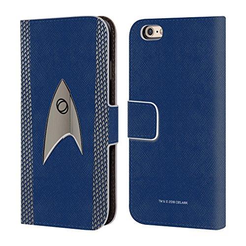Officiële Star Trek Discovery Wetenschap Uniformen Lederen Book Portemonnee Cover Compatibel voor Apple iPhone 6 / iPhone 6s