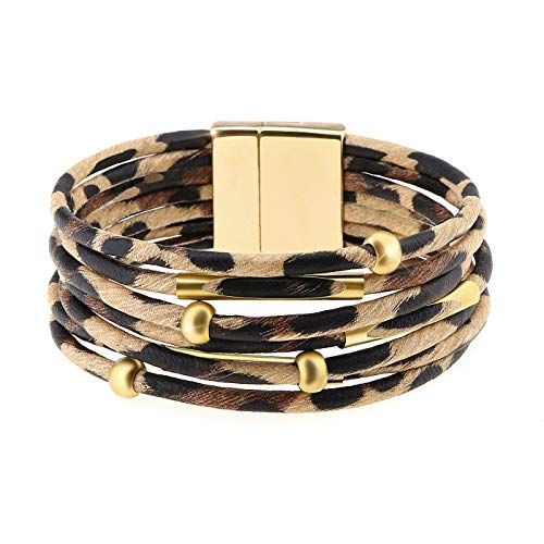 Wowanoo Leopard Bracelet Multilayer Leather Cuff Bracelet, Leopard, Size No Size