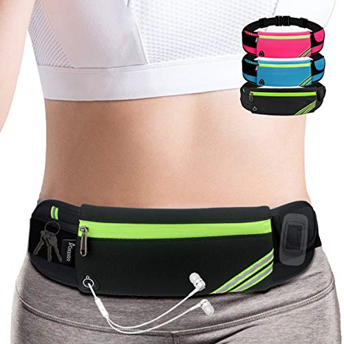 Slim Running Belt Fanny Pack,Waist Pack Bag for Hiking Fitness Cycling Workout Gym,Reflective Runners Belt Jogging Pocket Belt for iPhone XS,XR,7 8 Plus,Travelling Money Phone Holder for Running