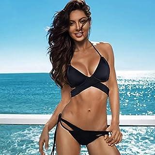 BEESCLOVER Bikinis Women Swimwear Push Up Swimsuit Female Cross Bandage Bikini Set Halter Black Bathing Suit Solid Red Beachwear