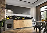 Muebles de Cocina Completa 240 cms Color Roble y Grafito, encimera y zocalos incluidos, ref-58a NO Incluye: Fregadero NI Grifo