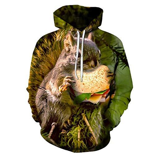 Mockledd Eichhörnchen Isst Burger, Pullover Hoodie, Jugendtier Hoodie, Wy174, L.