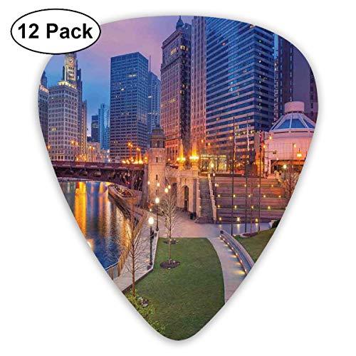 Guitar Picks12pcs Plectrum (0.46mm-0.96mm), Cityscape Urban Scene Waterfront Illuminated At Twilight Blue Hour Image,For Your Guitar or Ukulele