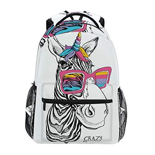 Divertido caballo loco unicornio mochila casual estudiante escuela bolsa viaje senderismo camping portátil Daypack
