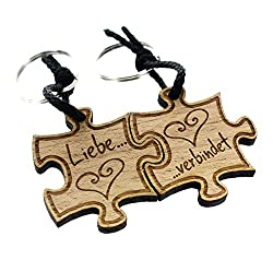 Lieblingsmensch 2er Set Gravur Partner Schlüsselanhänger aus Holz - Modell: Liebe verbindet