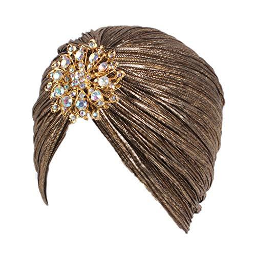 TININNA Taladro de Aleación Dobla Sombrero Indio Mujeres Turbante Sombrero Pérdida de Cabello Cáncer Cabeza Pañuelos Quimioterapia Cap Sombreros