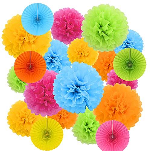 Sweetone 20 decoraciones para fiestas, decoraciones de panal que incluyen 15 pompones de papel (multicolor) y 5 abanicos de papel esféricos (multicolor) para decoraciones de cumpleaños y banquetes