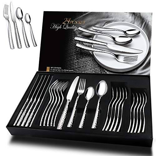 Cutlery Set, Elegant Life 24-Piece Stainless Steel Flatware Set for 6, Tableware Silverware Set Includes Dinner Knives/Forks/Spoons with Exquisite Pattern, Modern Design&Mirror Polished - Box Package