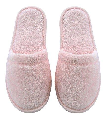 Arus Damen-Slipper, türkischer Bio-Frottee, Baumwolle, Einheitsgröße One Size Rosa mit schwarzer Sohle