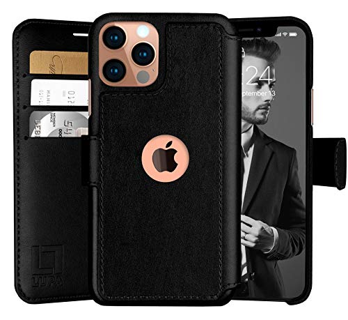 LUPA iPhone 12 Pro Max Wallet Case -Slim iPhone 12 Pro Max Flip Case with Credit Card Holder, for Women & Men, Faux Leather iPhone 12 Pro Max Purse Cases with Magnetic Closure, Black