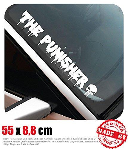 The Punisher Frontscheibenaufkleber 55,0 cm x 8,8 cm Auto Aufkleber JDM OEM Tuning Sticker Decal 30 Farben zur Auswahl