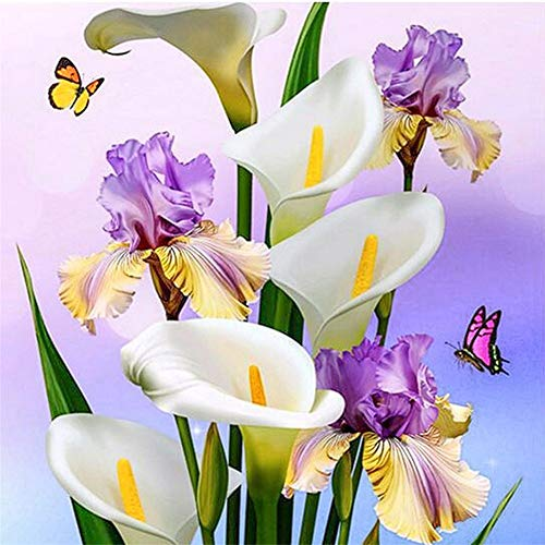 Diamond Painting by Numbers Kits DIY 5D Full Drill Calla LilyFloresLarge Paste Crystal Rhinestone Adults Kids Handmade Embroidery Diamond Art Craft for Home Wall Decor 90x90cm