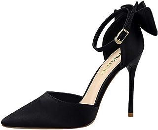a3b0d8a95b31d4 Fanessy Chaussure Fermé Femme Escarpins Talon Haut Aiguille Boucle Noir  Rouge Bride Talon de 8cm Grande