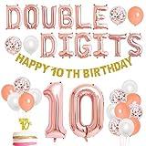 Decoraciones del décimo cumpleaños Oro rosa para niñas Doble dígitos Feliz décimo cumpleaños Tema Banner Cake Topper 10 años Suministros para fiestas de cumpleaños