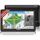 Jimwey Navigationsgerät für Auto LKW Navigation GPS Navi Navigationssystem Zoll 16GB Lebenslang Kostenloses Kartenupdate mit Blitzerwarnung POI Sprachführung Fahrspur 2020 Europa UK 52 Karten