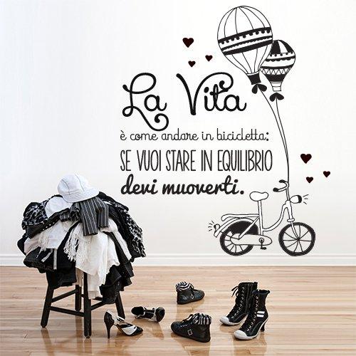 wall art 01256 Adesivo murale Vita è Come Andare in Bicicletta - Misure 75x93 cm - Nero - Decorazione Parete, Adesivi per Muro, Carta da Parati