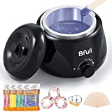 2020 Upgraded BFull Mini Wax Warmer, Instant Hair Removal Kit with 4 Pack Wax Beans, 20 Applicators, 10 Clean Collars, 3 Wax Melting Bowls for At-Home Waxing