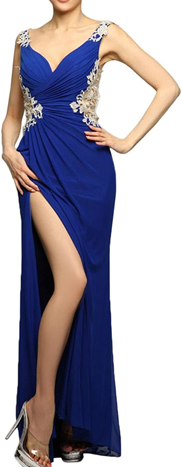 MILANO BRIDE 2016 Sexy Evening Prom Dress Vneck Backless Split Applique Long
