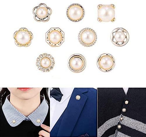10 Piezas Perla Broche de Botones para Camisa de Mujer Imperdibles Broches Pequeño Broche de Seguridad Imperdibles Broches para Accesorios Broche para Ropa Mujer para el Vestido Cardigan Suéter