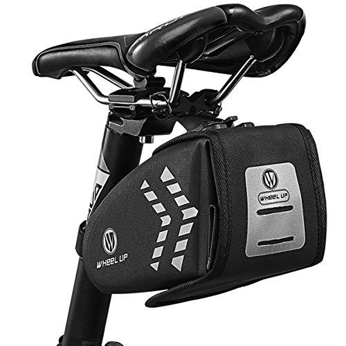 Bolsa para Sillín de Bicicleta, Impermeable, Bolsa de Asiento de Bicicleta, Bolsa de Almacenamiento Portátil para Asiento de Bicicleta de 2 l, Gran Capacidad, Apto para bicicleta de carretera
