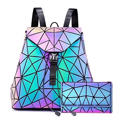 LOVEVOOK Geometrische Rucksack Faltbare Geldbörse Set, Holographic Leuchtende Taschen Damen Daypack Purse Brieftasche Kartentasche
