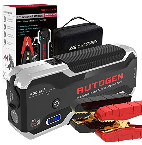 AUTOGEN 4000 Amp 32000mAh Lithium Car Jump Starter (10.0L+ Gas & Diesel), 12V Battery Jumper Box Booster Pack, USB Quick Charge 3.0 Charger, Portable Power Pack for Cars, SUVs, Trucks