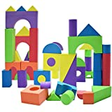 Giant Foam Building Blocks, Building Toy for Girls and Boys, Ideal Blocks Construction Toys for Toddlers, 50 Pieces Different Shapes and Sizes, Waterproof, Bright Colors, Safe, Non Toxic