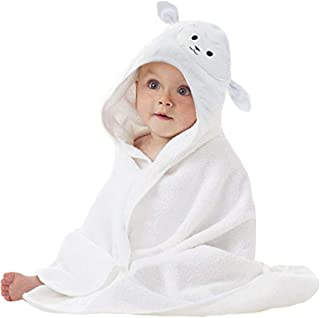 Organic Bamboo Baby Hooded Towel with Bonus Washcloth | Ultra Soft and Super Absorbent Toddler Hooded Bath Towel with Cute...