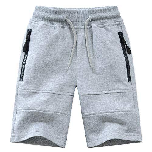 Echinodon Kinder Sweatshorts Jungen 1/2 Hose Kurz Weiche Shorts Baumwolle Sport Freizeit Grau 164