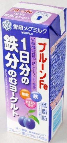 雪印メグミルク MEGMILKプルーンFe 1日分の鉄分のむヨーグルト 190g 9本セット×48 要冷蔵