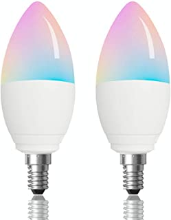 BoazSmart WiFi Candle Lighting Bulb E14,WiFi Smart Candle LED Light Voice Control Bulb Alexa Google Home and Siri,APP Remote Control RGBW Multicolor Color Changing Candle Base No Hub 5W