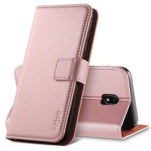 Anjoo Hülle Kompatibel für Samsung Galaxy J3 2017, Tasche Leder Flip Hülle Brieftasche Etui mit Kartenfach & Ständer Kompatibel für Samsung Galaxy J3 2017 (Rosa)